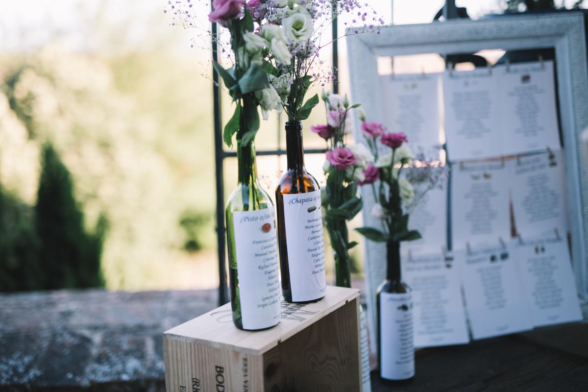 botellas decoración boda