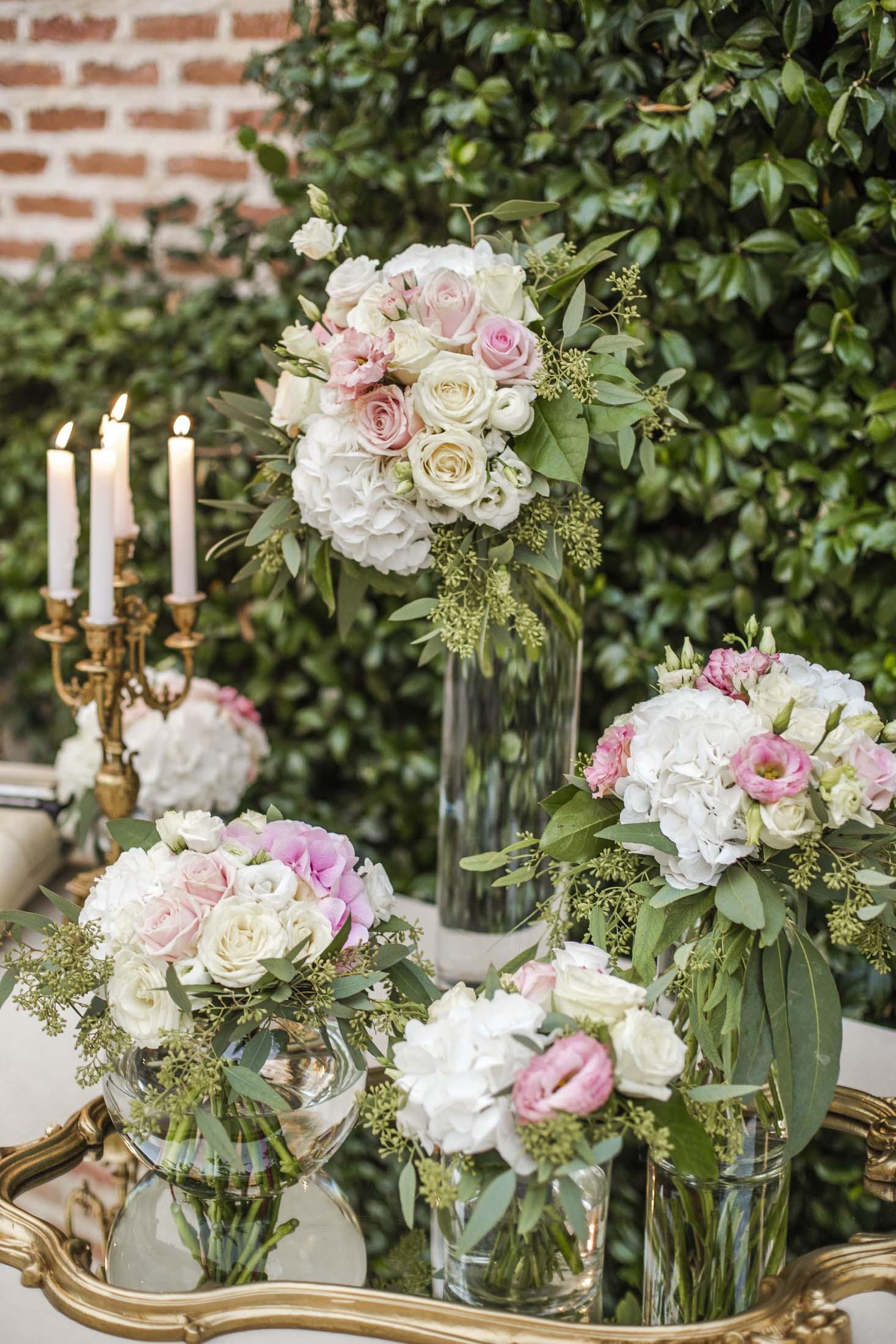 decoración boda romántica_candelabros_espejo vintage