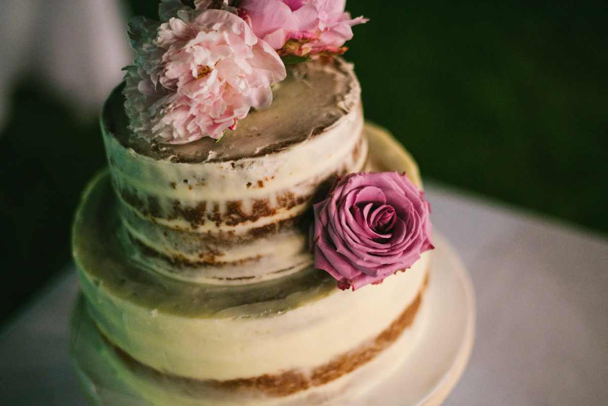 naked cake boda peonia rosa